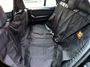 Heavy Duty REAR Seat Cover Protector great for dogs with Pets on the Move Logo motif. (Black)