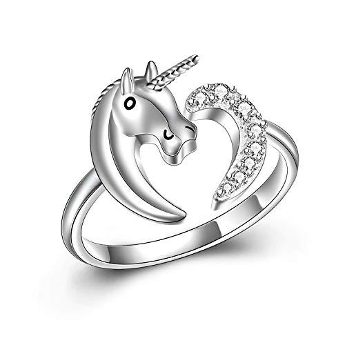 Anillo de Unicornio Plata 925, Anillos Ajustable Joya con corazón de Unicorn regalitos, Joyero argollas de Dedo es uno de los Mejores Regalos para Infantiles niñas, y Mujer. Niños Joyería Juguete
