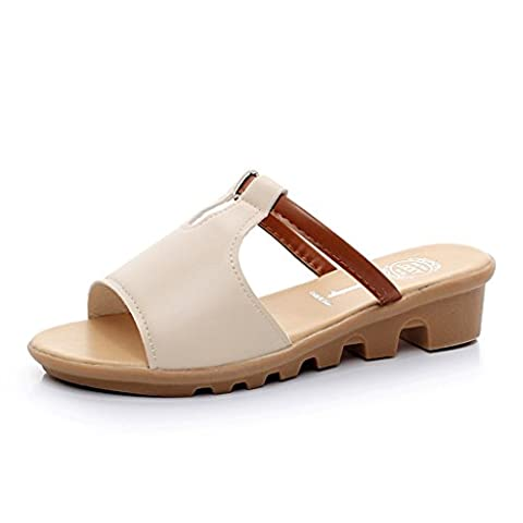 ALUK- Summer - slope with thick bottom beach casual skid simple cool slippers ( Color : Beige , Size : 36-Shoes long230mm