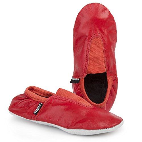 Gymnastikschuhe unisex für Mädchen und Jungen Echtleder in verschiedenen Größen und Farben Ballerinas Sportschuhe Rot