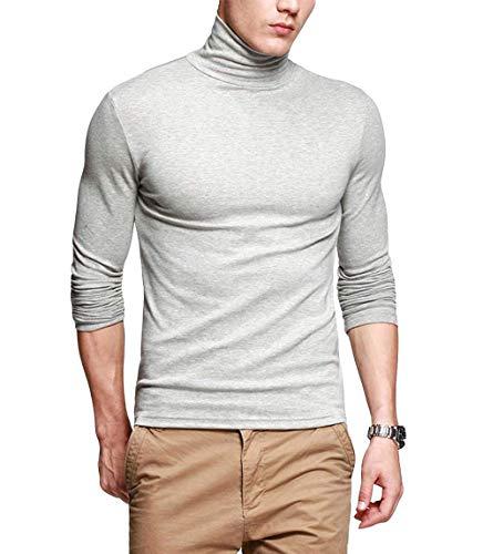 fanideaz Men's Cotton Full Sleeve Classic High Neck T-shirt (Grey and Melange, Large)