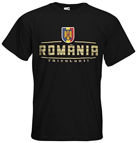 AkyTEX Rumänien România EM 2016 Fanshirt T-Shirt Trikot (Schwarz, L)