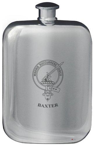 baxter-family-crest-design-pocket-hip-flask-6oz-rounded-polished-pewter