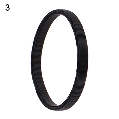 Sanwood - einfach Herren Spring Manschettenknöpfe Barkeeper Armreif Elastic Armband Ring Metall Armband, metall, Schwarz, Schmal