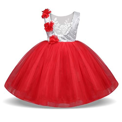 bestshope Kinder Kinder Mädchen ärmellose Pailletten-Blumen-Hochzeitsfest-Prinzessin Dress