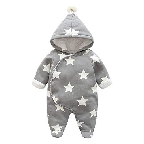 Meijunter Unisex Baby Schneeanzug - Winter Sterne Muster Fleece Overall mit Kapuze Mädchen Jungen Strampler Jumpsuit Babykleidung 0-24 Monate