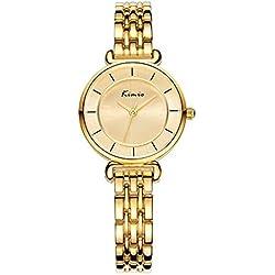 XLORDX Kimio Damen Armbanduhr Minimalismus Edelstahl Armreif Quarz Analog Uhr Gold