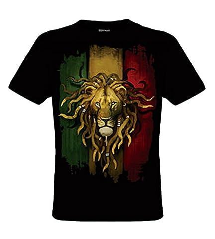 DarkArt-Designs mode de vie T-Shirt Rasta Lion - Motif de Lion T-shirt pour enfants et adultes - motif de plaisir regular fit, Noir,