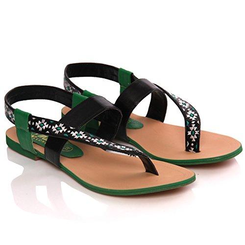 Unze Donne ' W00699 ' Flat Thong Sandal Verde