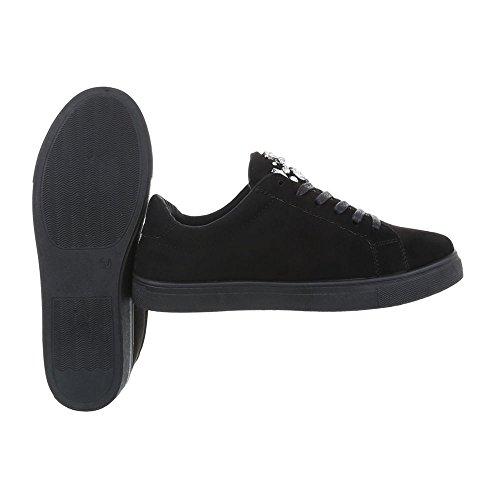 Ital-Design Sneakers Low Damenschuhe Sneakers Low Sneakers Schnürsenkel Freizeitschuhe Schwarz G-33