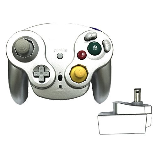 Poulep Classic 2,4 G Wireless Controller Gamepad mit Receiver Adapter für Wii U Gamecube NGC GC (Silver1)