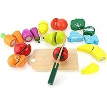 OMYZON Wood Bucket Cortar Frutas y Verduras Juguete Cocina Finer Shop Juguete de corte Juego de desarrollo temprano y juguetes educativos para bebés Niños