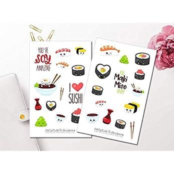 Niedliches Sushi Sticker Set   Aufkleber Bunt   Journal Sticker   Sticker Kawaii   Sticker Essen   Sticker Gesichter…