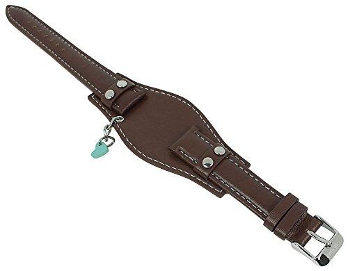 s.Oliver Unterlageband Uhrenarmband Leder Band 16mm braun mit Herz Anhänger SO-1339-LQ