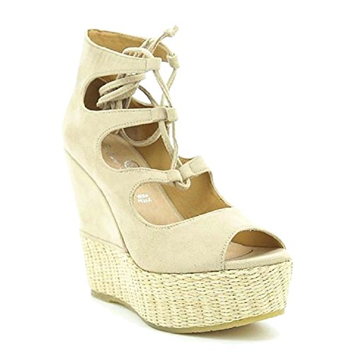 Toocool - Scarpe donna open toe sandali zeppa zatteroni stivaletti Queen Helena ZM25146 Beige