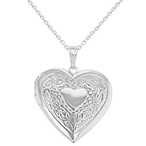 Ciondolo a forma di cuore, placcato al rodio, medaglione portafoto con collana