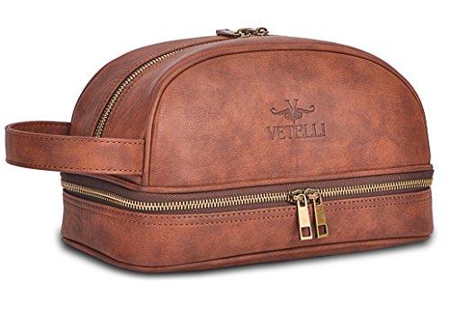 Vetelli - Bolsa de aseo color marrón para hombre,...