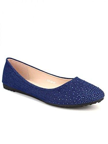 Cendriyon, Ballerine blue PEYS Clous Chaussures Femme Bleu
