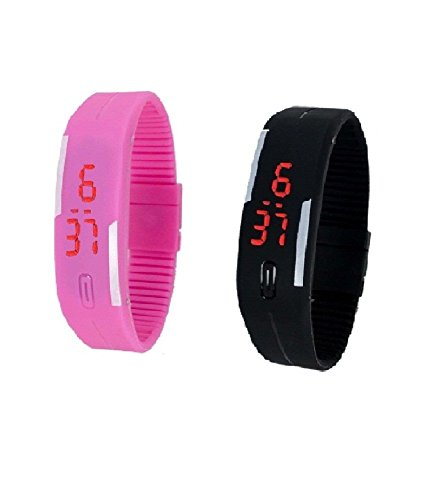 RTimes Black and Pink Unisex Multicolor Set of 2 Digital Rubber Jelly Slim Silicone Sports Led Smart Band Watch for Boys, Girls, Men, Women, Kids
