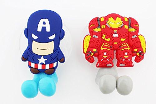Für Erwachsene Zahnbürste Kostüm - Finex® * SET von 2* Cartoon Tier Zahnbürstenhalter mit Saugnapf für Wand in Bad auf Home Captain America & Ironman