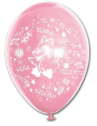 BWS SRL Packung mit 100 bedruckten Luftballons Ente und geschrieben Es ist EIN Mädchen, ideal für, Taufen, Geburten, Kompositionen und Geburtstage weibliches Kind.