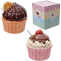 PuckatorCAKE37Azucarero de cerámica con forma de cupcake con base rosa y tapa marrón coronada con una fresa