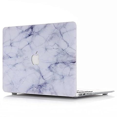 MacBook Air 11 Hülle, L2W Macbook Air 11,6 Zoll Hard Shell Marmor Muster Gummi beschichtet für Macbook Air 11,6 '' (Modell: A1370 / A1465) [Marmor Blumen Weiß DL-8]