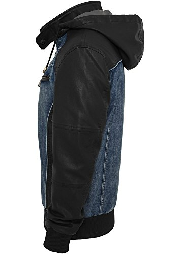 TB675 Hooded Denim Leather Jacket Herren Jacke Jeans Kapuze - 3