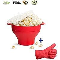 Popcorn Maker Silicona, microondas Popcorn Popper Asas prácticos Gruesos, Cuenco Plegable con Tapa Rojo
