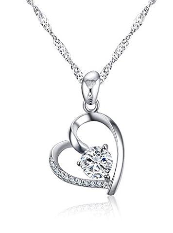 Vnox Femmes Filles 925 en argent sterling Zirconia princesse Zirconia Collier pendentif coeur coupé,chaîne libre