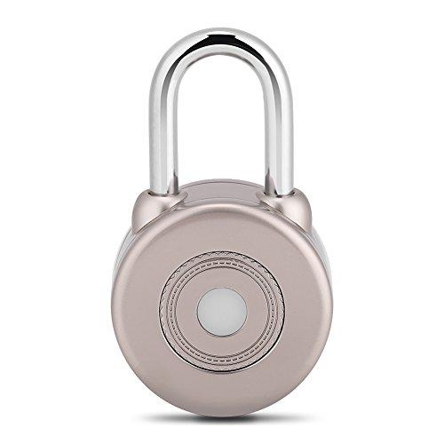 Smart Vorhängeschloss Kein Schlüssel zu verlieren Bluetooth Lock Outdoor Kompatibel Schlüssellosmit Bluetooth 4,0 oder Höher IOS Android System für Tür Fahrrad Motorrad Außen und Inne(Golden)