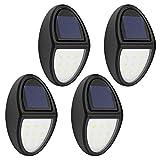 MoKo Solar Lights[4PCS], Wasserdicht Solarbetriebene Außenleuchte, Kabellos Solar Beweungs Sensor Sicherheits Lampe, Dekorative Wandleuchte für Wand, Patio, Hof, Garten - Schwarz