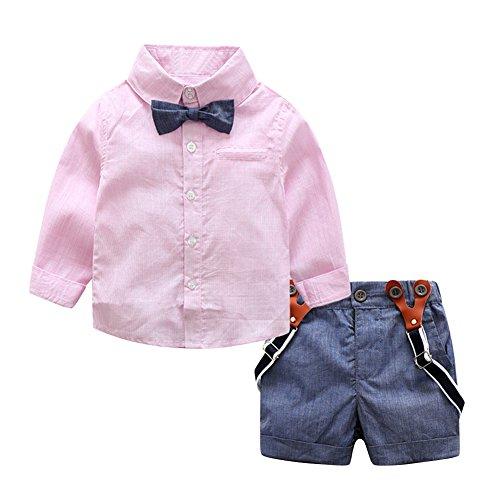 Demiawaking 2pcs Baby Kleinkind Jungen Gentlemen Bowknot Hemd Hosenträger Hose Ausstattung Kleidung Set (95(95-100cm), Rosa) (Hochzeit-shorts)