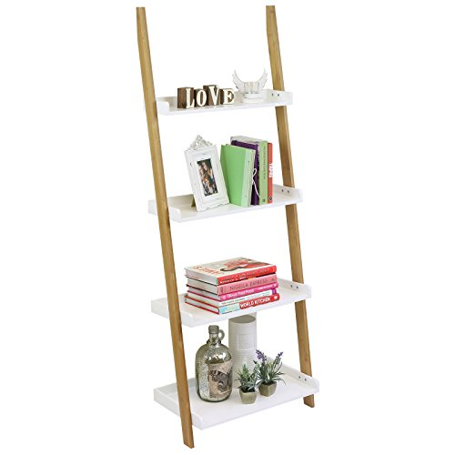 Estantería tipo escalera de bambú con 4 baldas blancas Hartleys