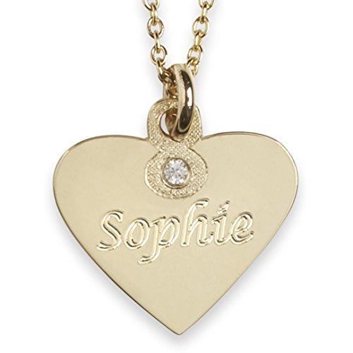 Kette & Anhänger Herz Gold 585 & Diamant mit Gravur, ein ganz besonderes Geschenk für Mädchen zur Geburt Taufe Kommunion