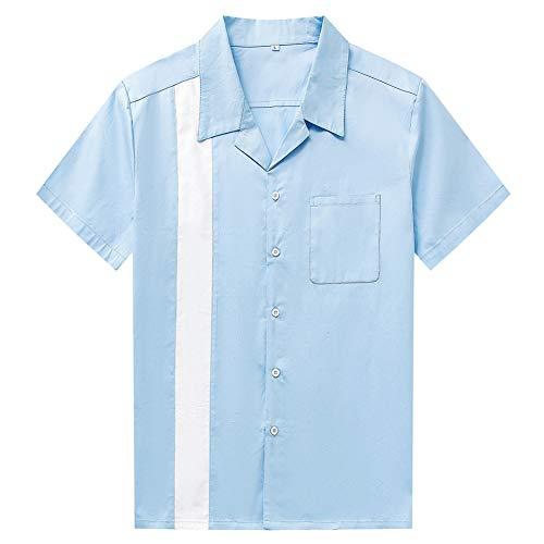 Herren Kurzarmhemd Blau und Weiß Colorblock Single Pocket Kurzarm Herrenhemd Colorblock Casual Revers Einreiher Jugendhemd,Hellblau,XL -