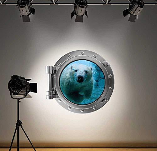 Volle Farbe Eisbär Bullauge Ozean Wandsticker Aufkleber Kinder Schlafzimmer-Dekoration - Large