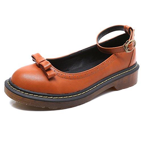Smilun Damen Loafer Flach mit Absatz Blockabsatz Schleife Braun EU37 (Casual Straße Loafer)