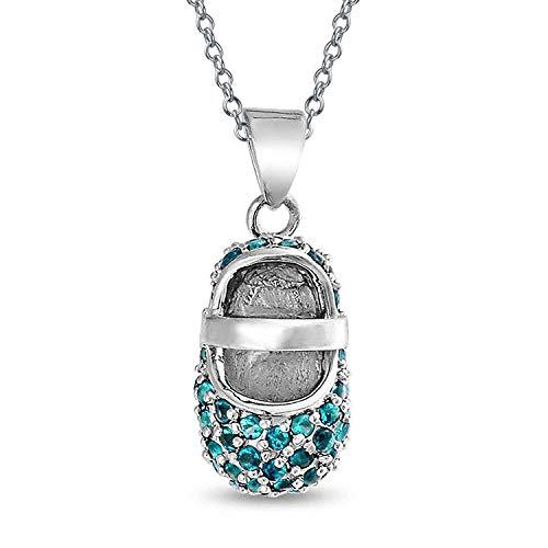 Aqua Blau Ebnen Cz Baby Schuh Mary Jane Stil Halskette Charme Simulierten Aquamarin Zirkonia 925 Sterling Silber (Baby-schuh-charme)