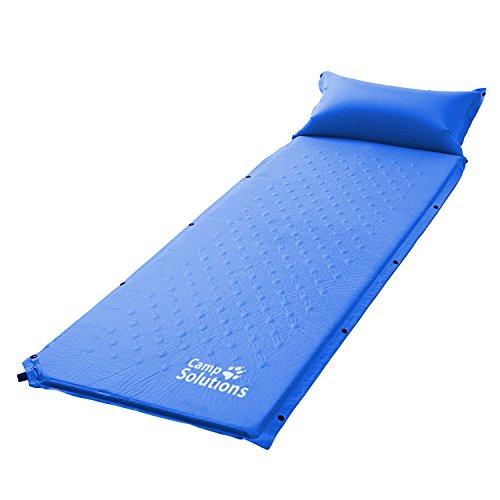 Camp Solutions Autogonfiabile Mat aria di sonno con il cuscino - L185 leggeri x W60 x H2.5 cm 1kg Blu