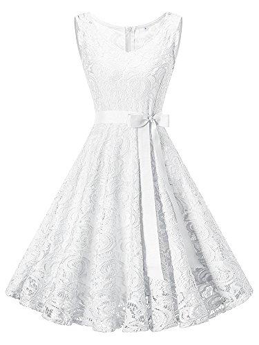 HENCY Damen Spitzen Kleid Festlich Partykleid Cocktailkleid Brautjungfern Kleid V Ausschnitt...