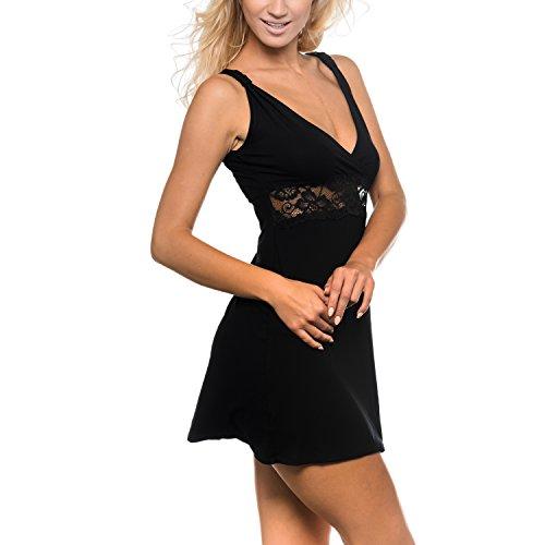 JADE - Camicia da notte / Negligé / Intimo notte da donna / Biancheria da notte da collezione Sophie Bernard Collection. Feel at ease! Nero