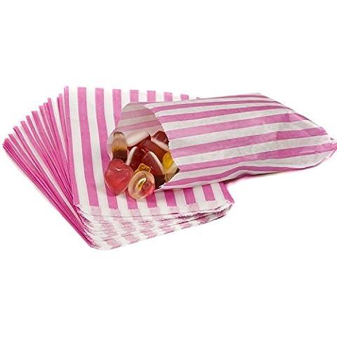 sacchetti di carta a righe porta-confetti Buffet regalo negozio partito caramelle torta nuziale 9colori Designs UK venditore stesso giorno spedizione, Pink, 1 Sample Bag