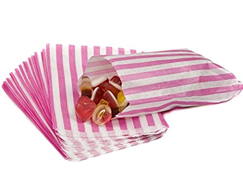 50 PINK CANDY STRIPE SWEET GIFT PAPER BAGS Premium Quality British Made 5