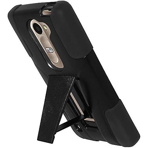 Amzer-Cover ibrida a doppio strato con supporto a cavalletto, per smartphone LG Leon 4G H340N, Leon C40, Leon H320 e Leon H326