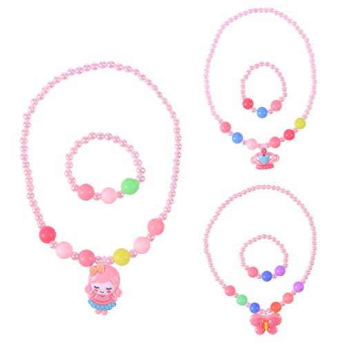 YeahiBaby 3 Sätze von Kinder Hübsche Schmuck Candy Farbe Halskette Armband Sets für Babys (Hübsche Prinzessin Kostüm)