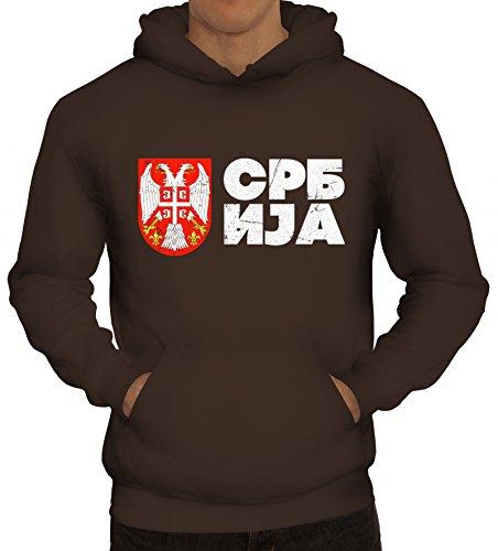 ShirtStreet Wappen Srbija Belgrad Länder Herren Hoodie Männer Kapuzenpullover Flagge Serbien 2, Größe: 3XL,braun