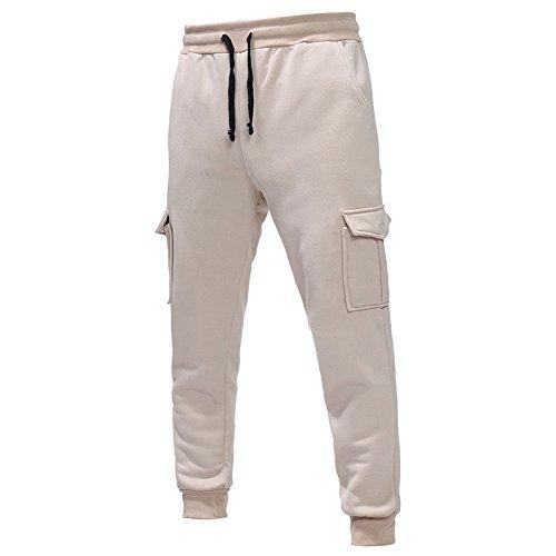 UFACE Herren Elastische Taille Gürtel Baumwolle Jogging Sweat Hosen Plus Size Mode Lange Sports Cargo Hosen Shorts mit Taschen Joggers