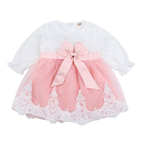 Hokoaidel Mädchen Prinzessin Spitzen Kleid Baby Bowknot 1/2 Ärmel Tüll Kleid Minikleid Sommer Kurze Ärmel Ballett Tutu Kleid Strandkleider Abendkleider