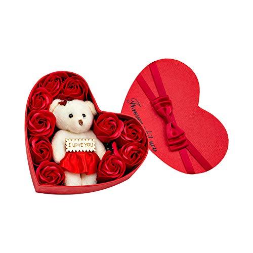 Jushi Savon Rose Fleur en boîte-Cadeau avec Ours Rouge Anniversaire de Mariage Saint Valentin Cadeau Savon Fleur